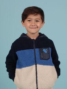 Gilet à capuche tricolore en fausse fourrure enfant garçon MOPLAGIL / 21W902O1GIL705
