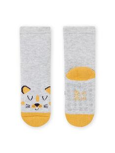 Chaussettes gris chiné à motif leopard bébé garçon MYUJOCHOB1 / 21WI1017SOQ943