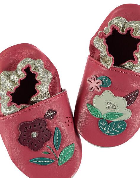 Chausson cuir souple rose patch fleurs bébé fille GNFLOWER / 19WK37Z3D3S304