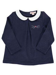 Tee-shirt bleu marine col Claudine bébé fille DIJOBRA6 / 18WG0936BRA705