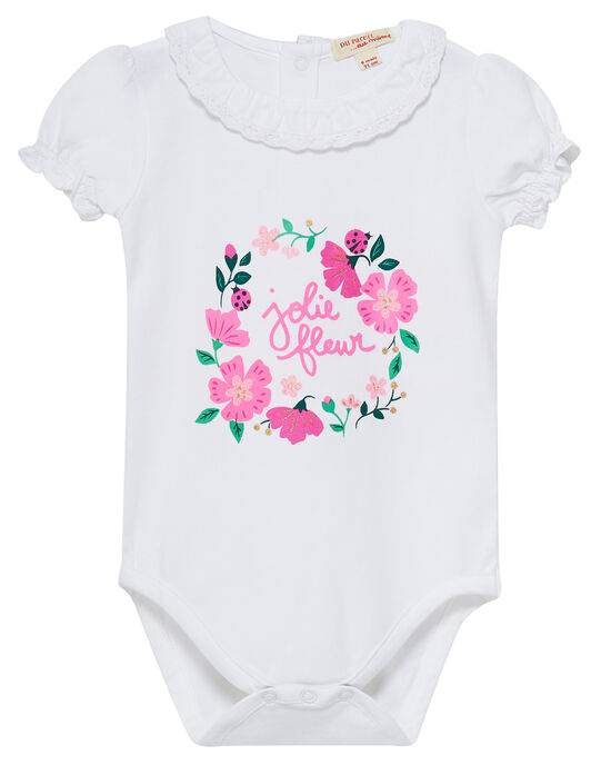 Body blanc avec col en dentelle bébé fille JIPOEBODY / 20SG09G1BOD000