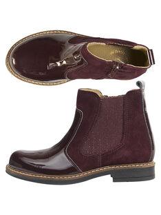 Chelsea boots bi-matière cuir croûte et verni lie de vin enfant fille GFBOOTPRU / 19WK35ICD0D719