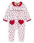 Grenouillère écrue imprimé cœurs bébé fille MEFIGREMIX / 21WH1331GRE001