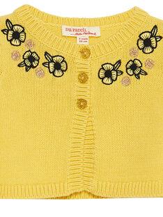 Cardigan en tricot jaune bébé fille JITROCAR / 20SG09F1CAR102