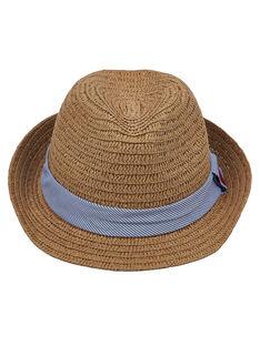 Chapeau enfant garçon en paille avec ruban rayé bleu et blanc + broderie sur le ruban  JYOWECHAP1 / 20SI0292CHA009