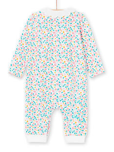 Grenouillère blanche et rose imprimé fleuri bébé fille MEFIGREFLE / 21WH1334GRE001