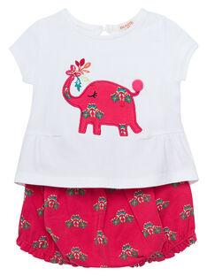 Ensemble tee shirt et short bébé fille JIBOENS / 20SG09H1ENS000