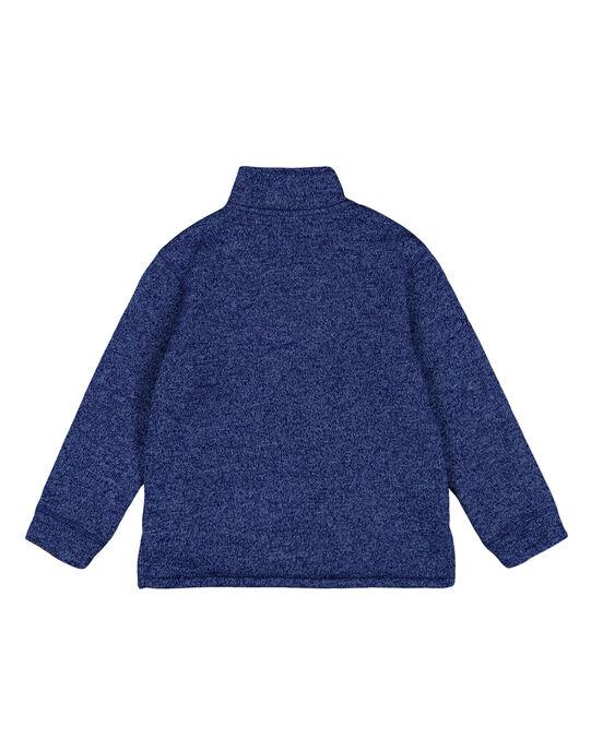 Pull matière technique intérieur moutonné Bleu Acier GOJOPULTEK3 / 19W902L2D2E720