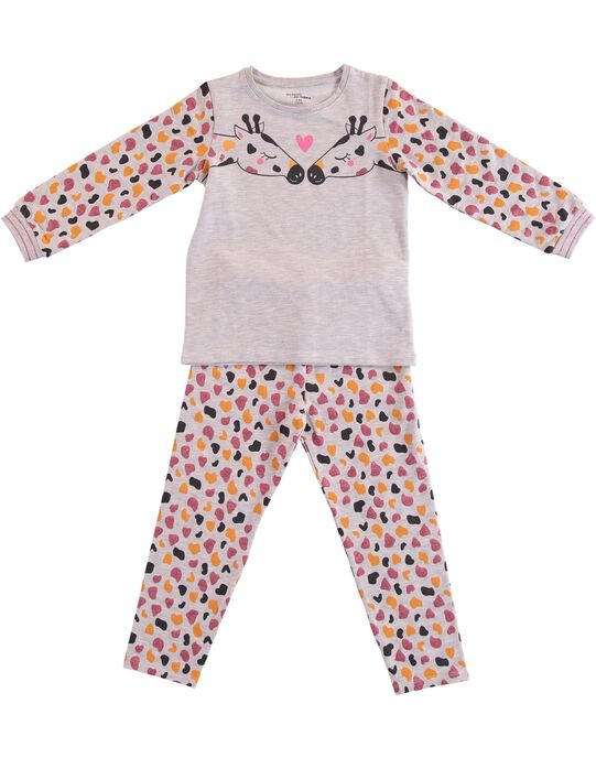 Pyjama gris chiné en molleton enfant fille GEFAPYJGIR / 19WH11N6PYJ943