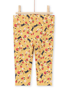 Legging jaune imprimé fleuri bébé fille MYIMIXLEG / 21WI09J1CALB106