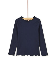 T-shirt manches longue bleu marine à côtes et col volanté KAJOUTEE2 / 20W90136D32070