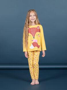Ensemble pyjama jaune phosphorescent motif renard enfant fille MEFAPYJFOX / 21WH1174PYG010