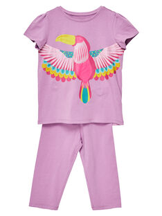 Pyjama en jersey mauve enfant fille JEFAPYJTOUC / 20SH1122PYJH700