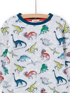 Ensemble pyjama gris chiné phosphorescent à imprimé dinosaure enfant garçon MEGOPYJAOP / 21WH1282PYJJ922