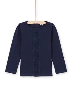 T-shirt manches longues bleu nuit avec dentelle enfant fille MAJOSTEE1 / 21W90115TMLC205