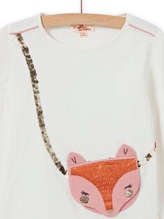 T-shirt écru animation renard et sequins réversibles enfant fille MASAUTEE1 / 21W901P2TML001