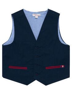 Gilet de costume uni marine à poches contrastées garçon JOWEGIL / 20S90291GSM705