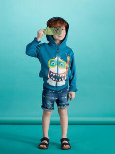 Gilet en molleton turquoise  foncé garçon avec tête de requin JOBOGIL / 20S902H1GILC219