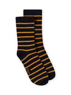 Chaussettes à rayures bleu marine et jaunes enfant garçon MYOJOCHOR4 / 21WI0214SOQ113