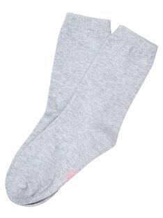 Chaussette fille grise claire avec bord lurex JYAESCHO4 / 20SI0161SOQ943