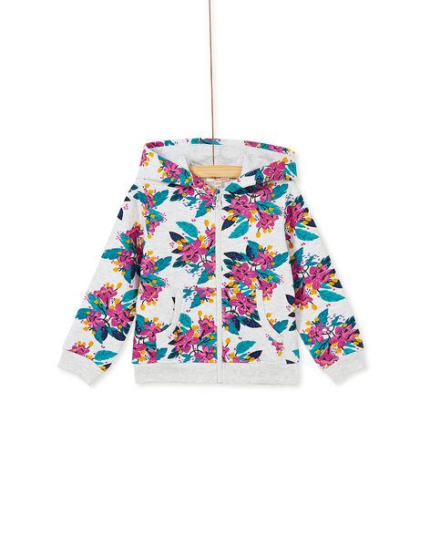 sweat à capuche zipé gris chiné et imprimé floral  KAJOHAUJOG1 / 20W90154D33943