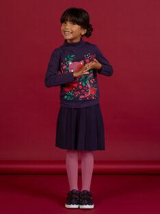 Jupe bleu foncé plissée en maille enfant fille MAFUNJUP1 / 21W901M1JUPH703