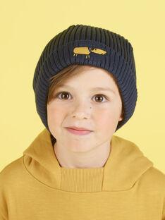 Bonnet en maille bleu nuit broderie chien enfant garçon MYOGROBON1 / 21WI0255BON705