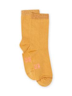 Chaussettes unies jaune moutarde enfant fille MYAJOCHO1 / 21WI0118SOQB106