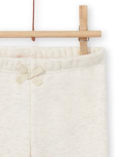 Legging doublé beige chiné à motifs lapins brodés bébé fille MIJOPANDOU1 / 21WG0911PANA011