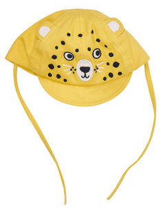 Casquette jaune bébé garçon tigre brodé JYUTROCASQ / 20SI10F2CHAB114