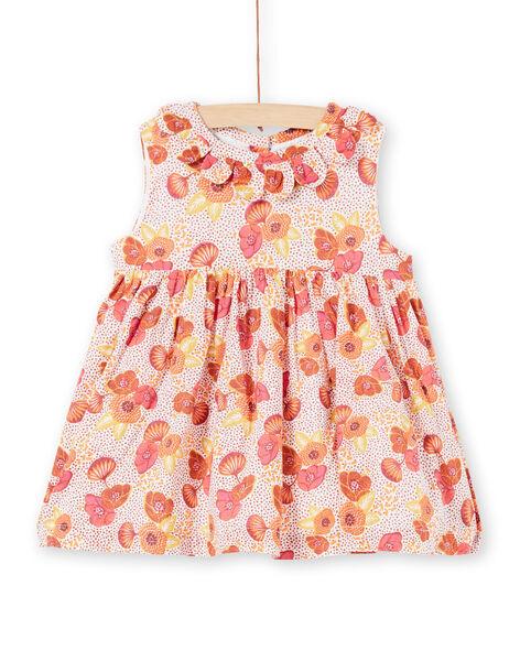 Robe rose, écrue et jaune à imprimé fleuri et pois LITERROB2 / 21SG09V1ROB001