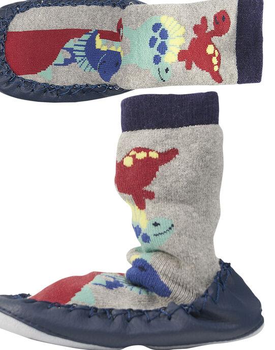 Chausson chaussette dinosaures gris bébé garçon GBGCCDINO / 19WK38Z2D08943