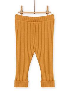 Legging uni jaune moutarde côtelé bébé fille MYIJOLEGCO5 / 21WI0912CALB106