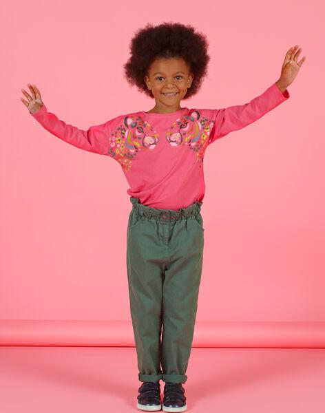 Pantalon paperbag kaki en twill enfant fille MAKAPANT / 21W901I1PAN626