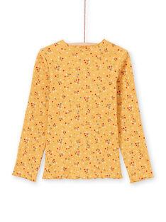 T-shirt côtelé jaune moutarde imprimé fleuri MAJOUTEE3 / 21W9012DTMLB106