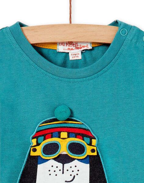 Tee-shirt vert manches longues bébé garçon KULUTEE1 / 20WG10P1TML613