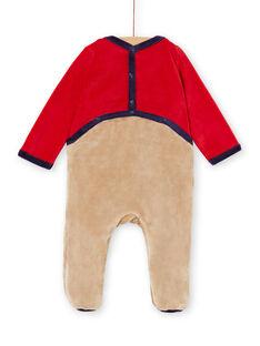 Grenouillère layette garçon motif ours de Noël avec son bonnet KEGAGRENO / 20WH14R1GREF529