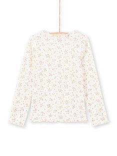 T-shirt côtelé manches longues écru motif fleuri enfant fille MAJOUTEE4 / 21W90128TML001