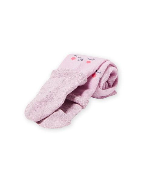 Collant uni lavande motifs oursons bébé fille MYIPLACOL / 21WI09O1COL326