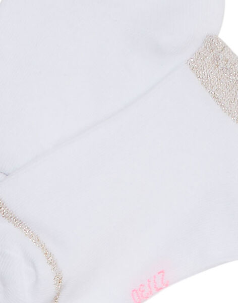 Chaussette fille blanche avec bord lurex JYAESCHOS1 / 20SI0163SOQA001