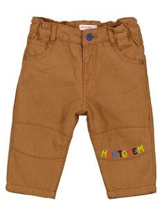 Pantalon en canvas brun bébé garçon GUVIOPAN3 / 19WG10R4PANI801