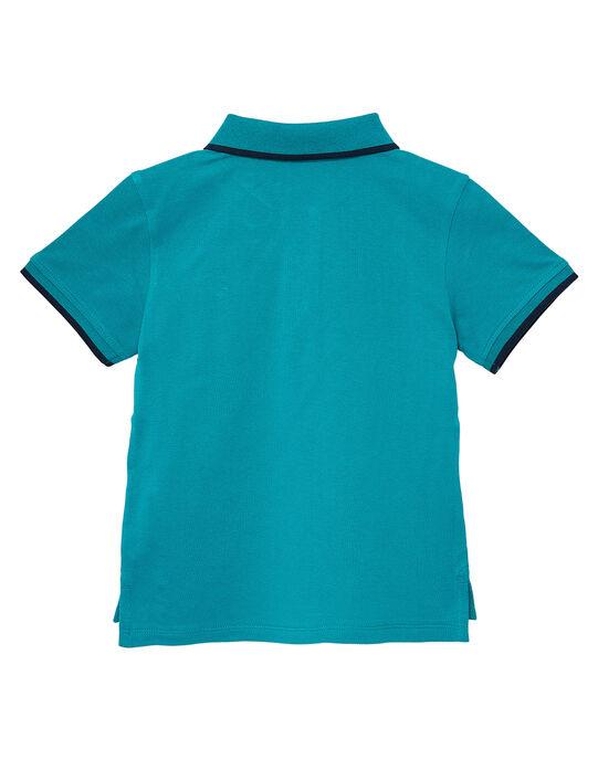 Polo garçon piqué turquoise rayé au col JOJOPOL2 / 20S90254D2DC217