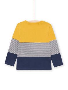 T-shirt jaune et bleu marine enfant garçon MOJOTIDEC2 / 21W90221TML113