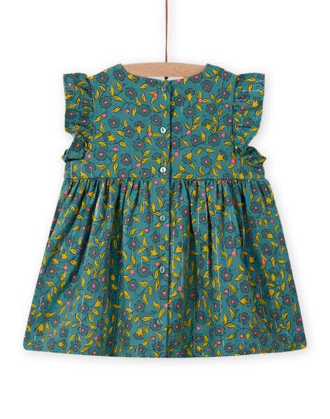 Robe en flanelle imprimé fleuri et rayures bébé fille MIKAROB1 / 21WG09I1ROB612