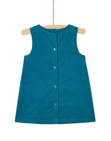 Robe turquoise en velours bébé fille KIBRIROB3 / 20WG09F3ROBC217