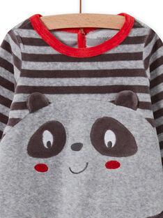 Grenouillère gris motif panda bébé garçon MEGAGREPAN / 21WH1483GREJ918