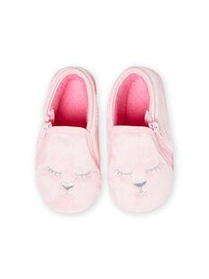 Chaussons rose clair en fausse fourrure motifs chat bébé fille MIPANTFUR / 21XK3722D0A321