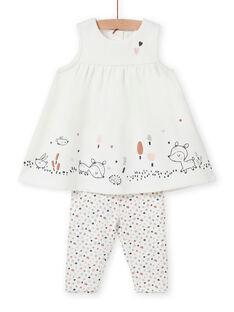 Ensemble robe et legging motif fantaisie naissance fille MOU1ENS6 / 21WF0342ENS001