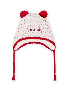 Bonnet en tricot jacquard avec pompons bébé fille MYIMIXBON / 21WI0951BON001