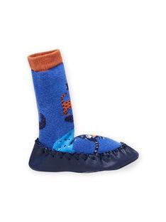 Pantoufles hautes bleues motif animaux bébé garçon MUCHO7ANIM / 21XK3821D08C201
